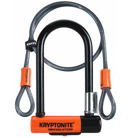 Kryptonite Lock, U w/ Cable - Kryptonite Evolution Mini-7, w/ 4 ft. Flex Cable