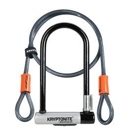 Kryptonite Lock, U w/ Cable - Kryptonite Kryptolok Series 2 STD, U-Lock, w/ 4 ft. flex cable, Black/Grey