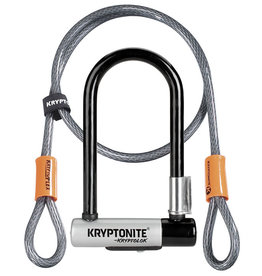 Kryptonite Lock, U w/ Cable - Kryptonite Kryptolok Mini 7'', w/ 4ft. Cable, Black/Grey