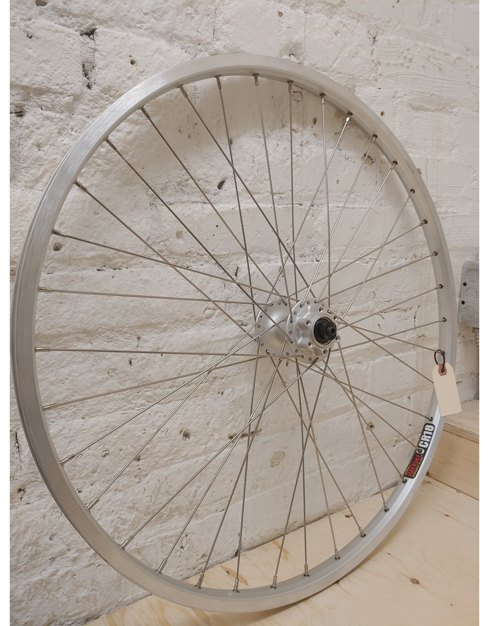 """Natural Cycleworks Handbuilt Wheel - Sun CR-18 26"""" Silver - Shimano Deore Front - Double Butted Spokes"""