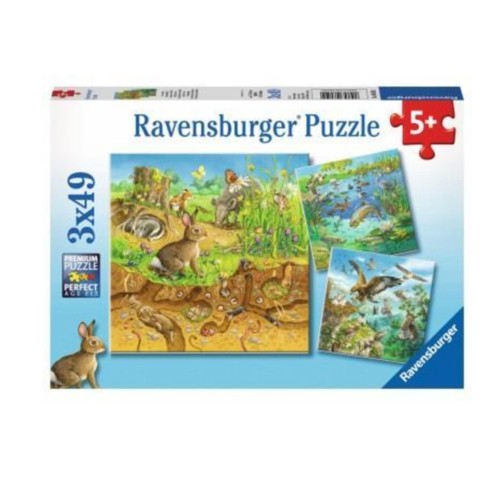 Ravensburger Puzzle 3 x 49: Animaux dans leur habitat naturel