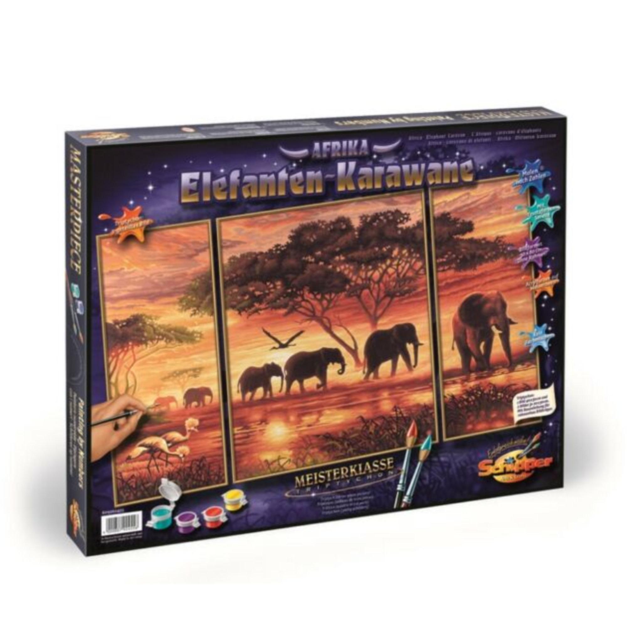Schipper Premium Peinture à numéros: Tryptych Elephant  Caravan