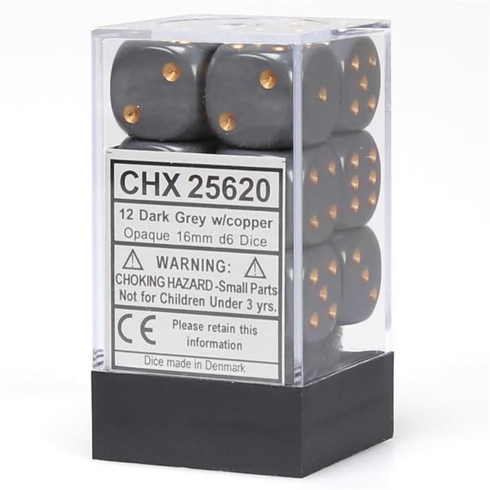 Chessex Dés Opaque: 12D6 Gris Foncé / Cuivre