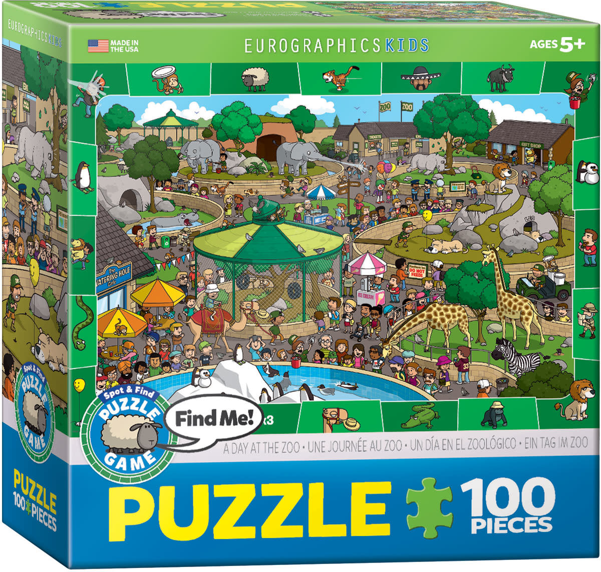 Eurographics Puzzle 100: A Day in the Zoo - Spot and Find