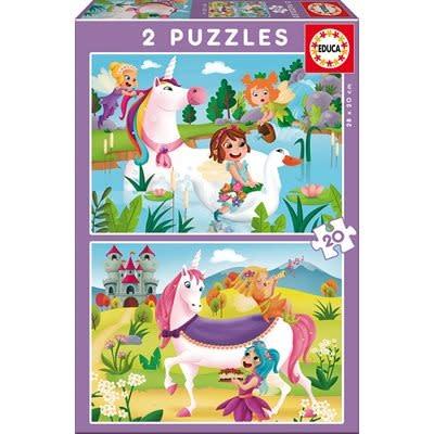 Educa Puzzle 2 x 20: Licornes et fées