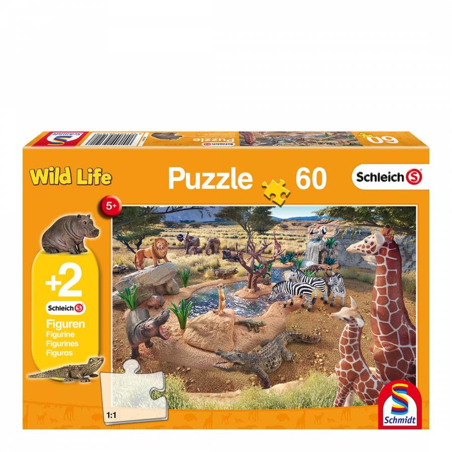 Schmidt Puzzle 200: Schleich At the Watering Hole