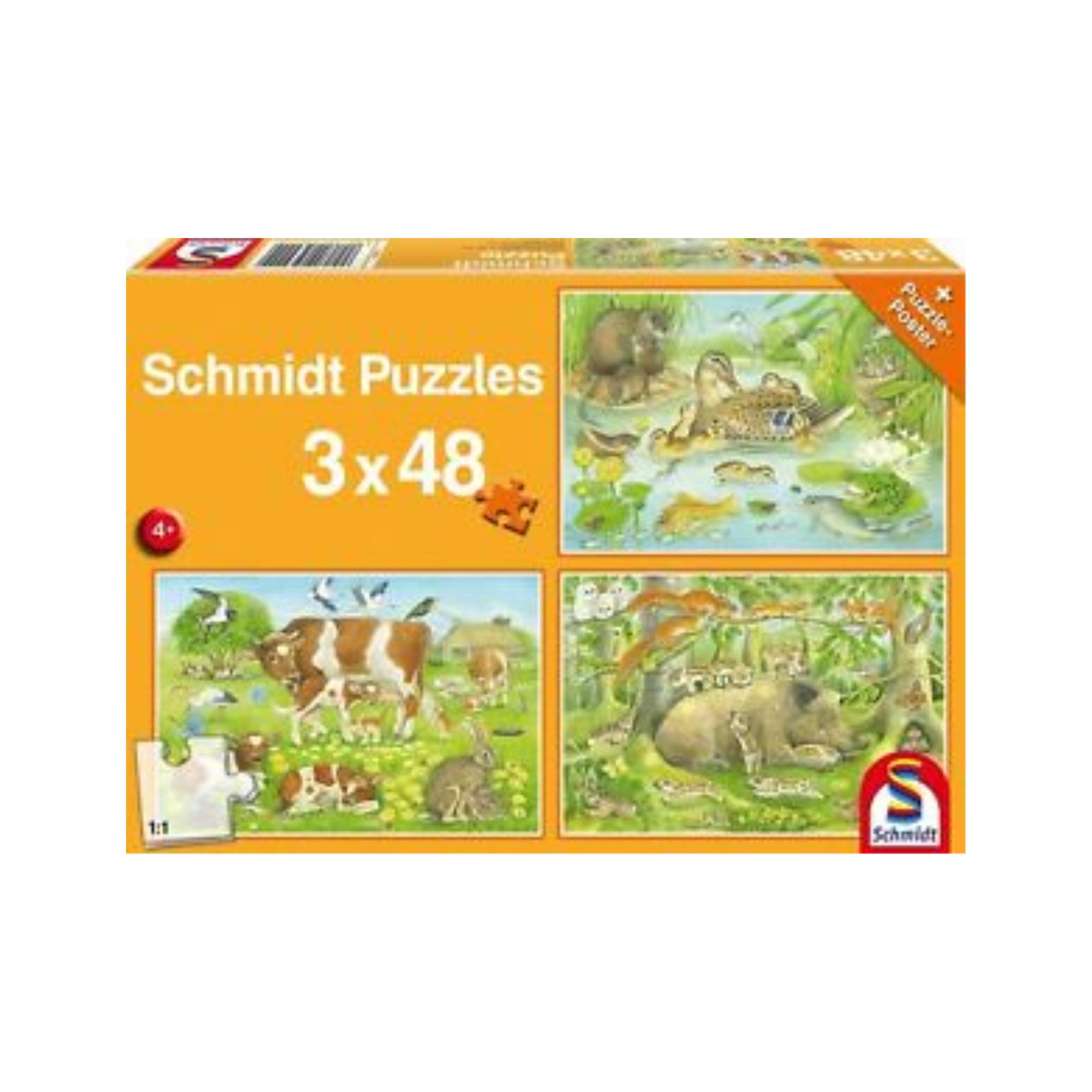 Schmidt Puzzle 3X48: Animal family