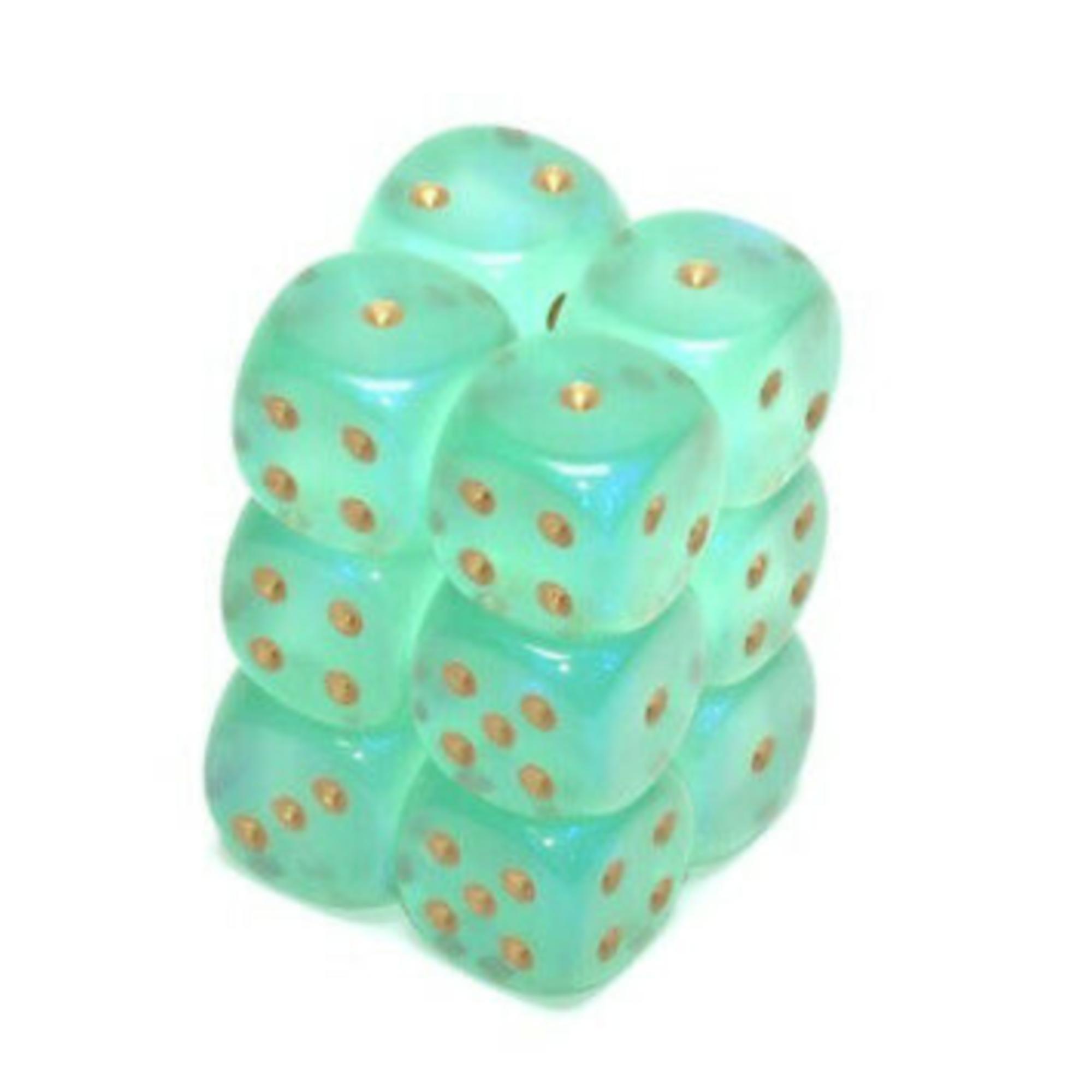 Chessex Borealis: 12D6 Light Green/Gold