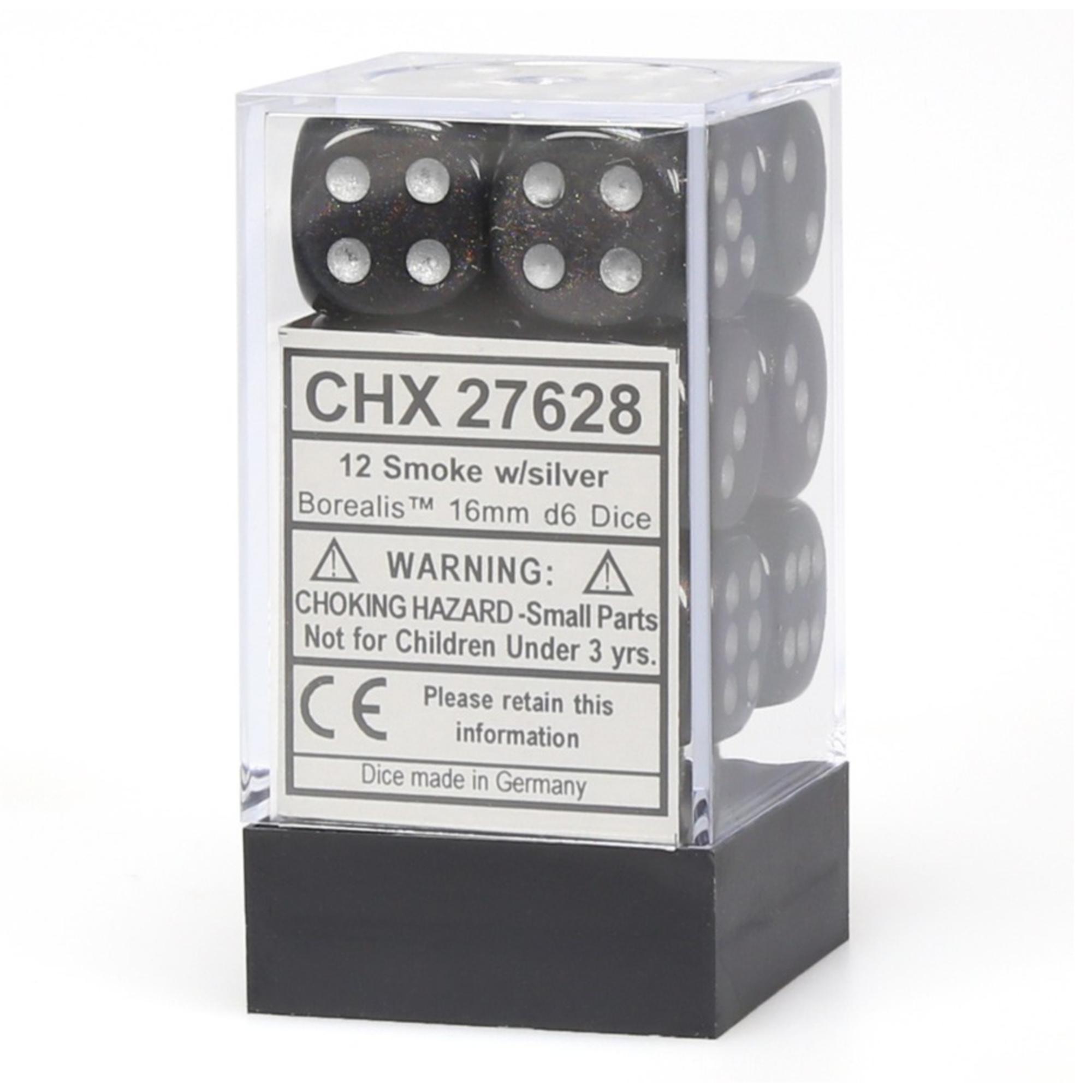 Chessex Borealis: 12D6 Smoke/Silver