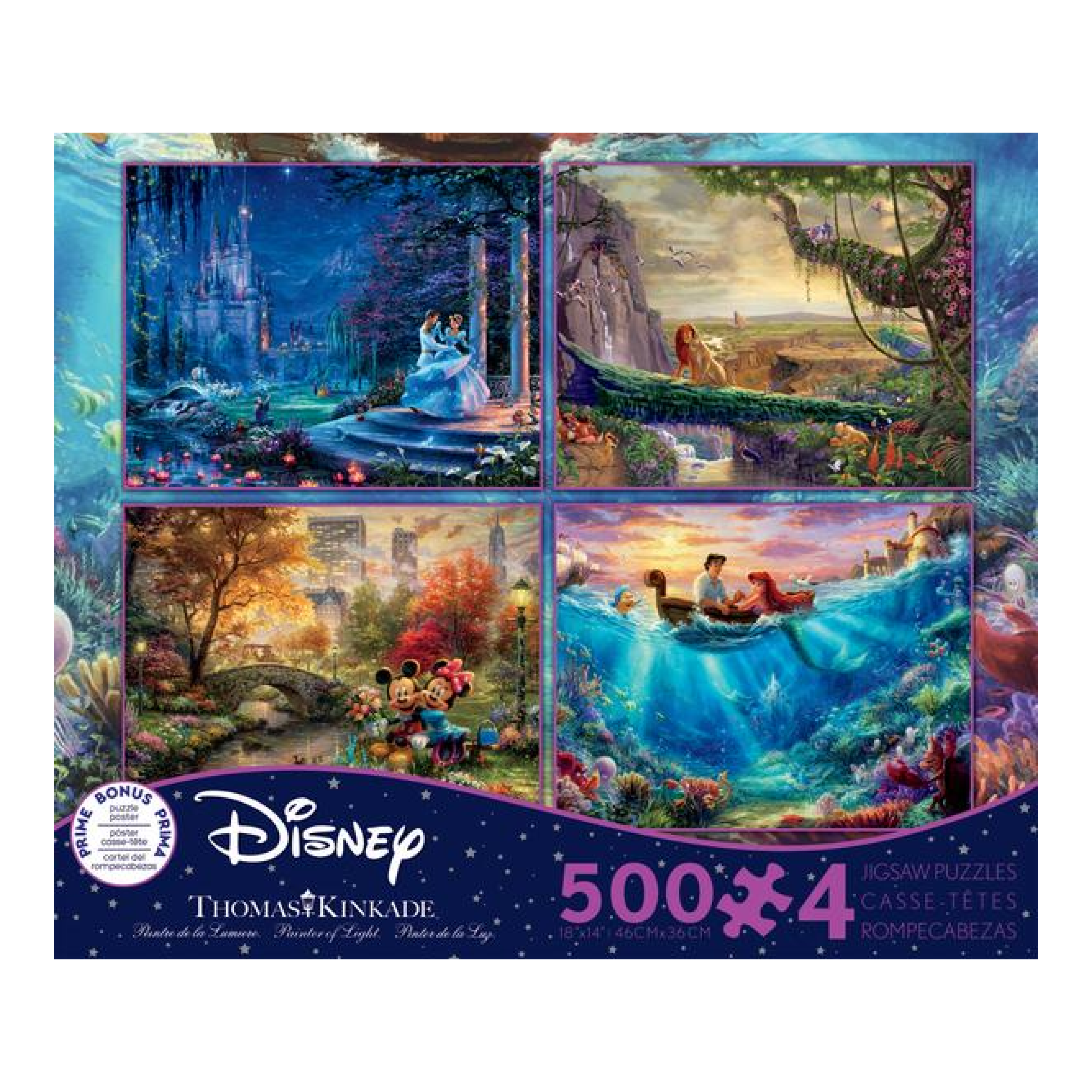 Made in USA Puzzle 500 4 in 1: Thomas Kinkade, Disney Dreams Collection #2