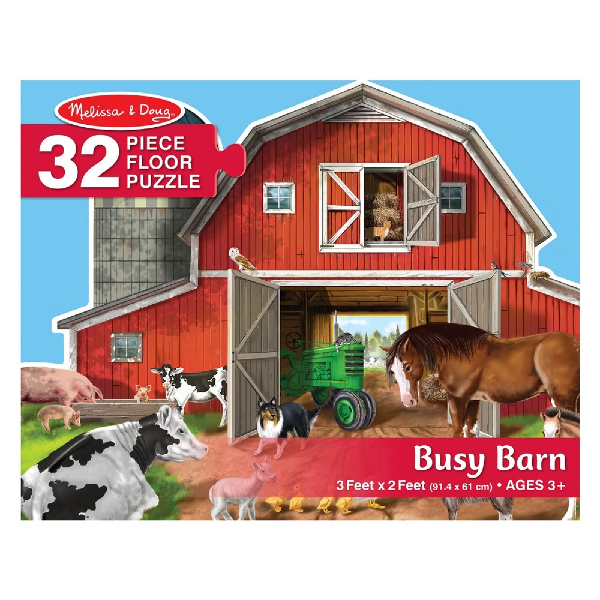 Melissa & Doug Puzzle plancher 32: Busy Barn Shaped