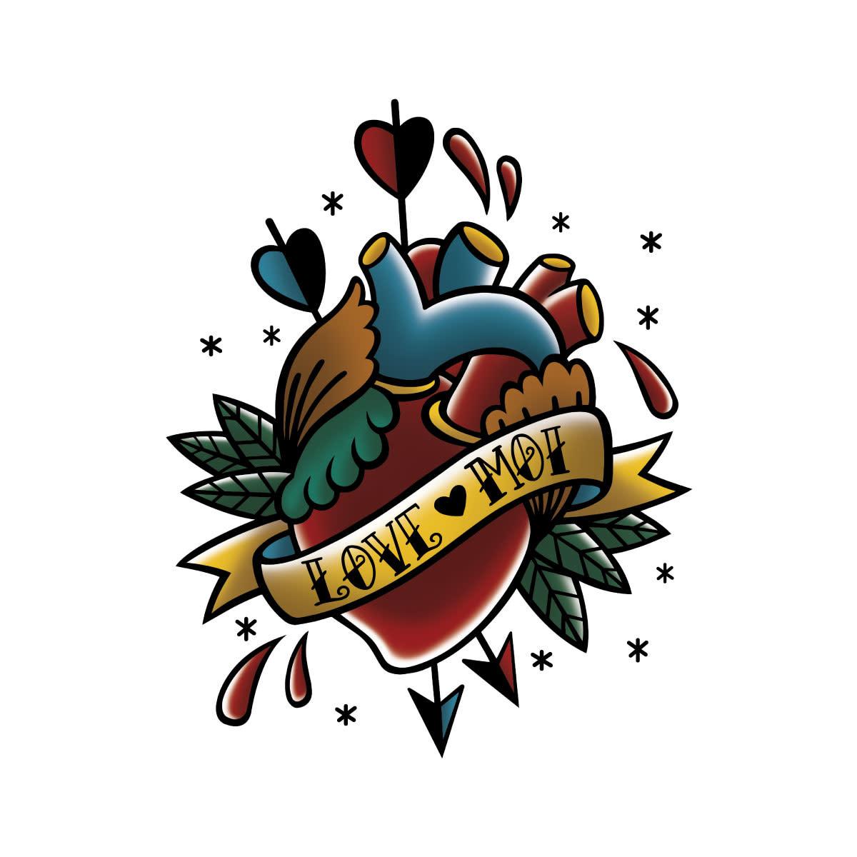 Les Tatoués Tatouage 3X4: À cœur ouvert
