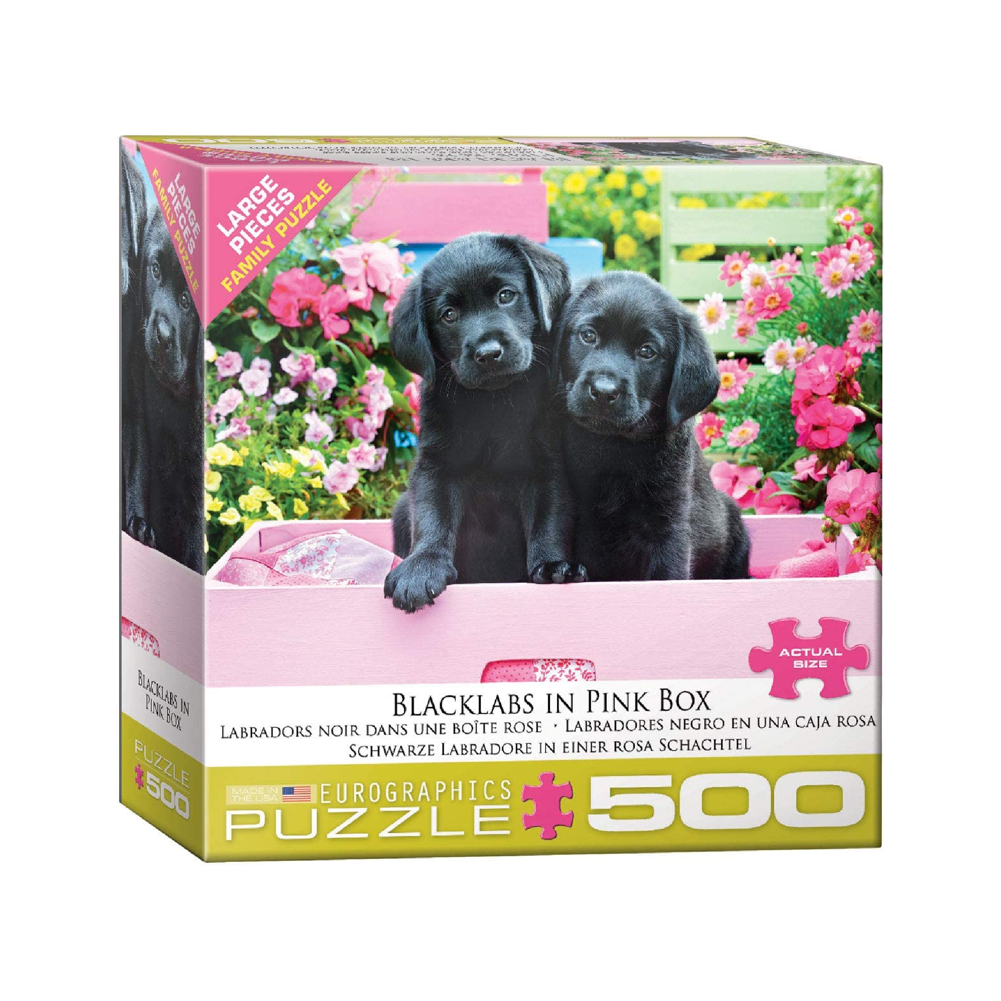 Eurographics Puzzle 500: Black Labs in Pink Box