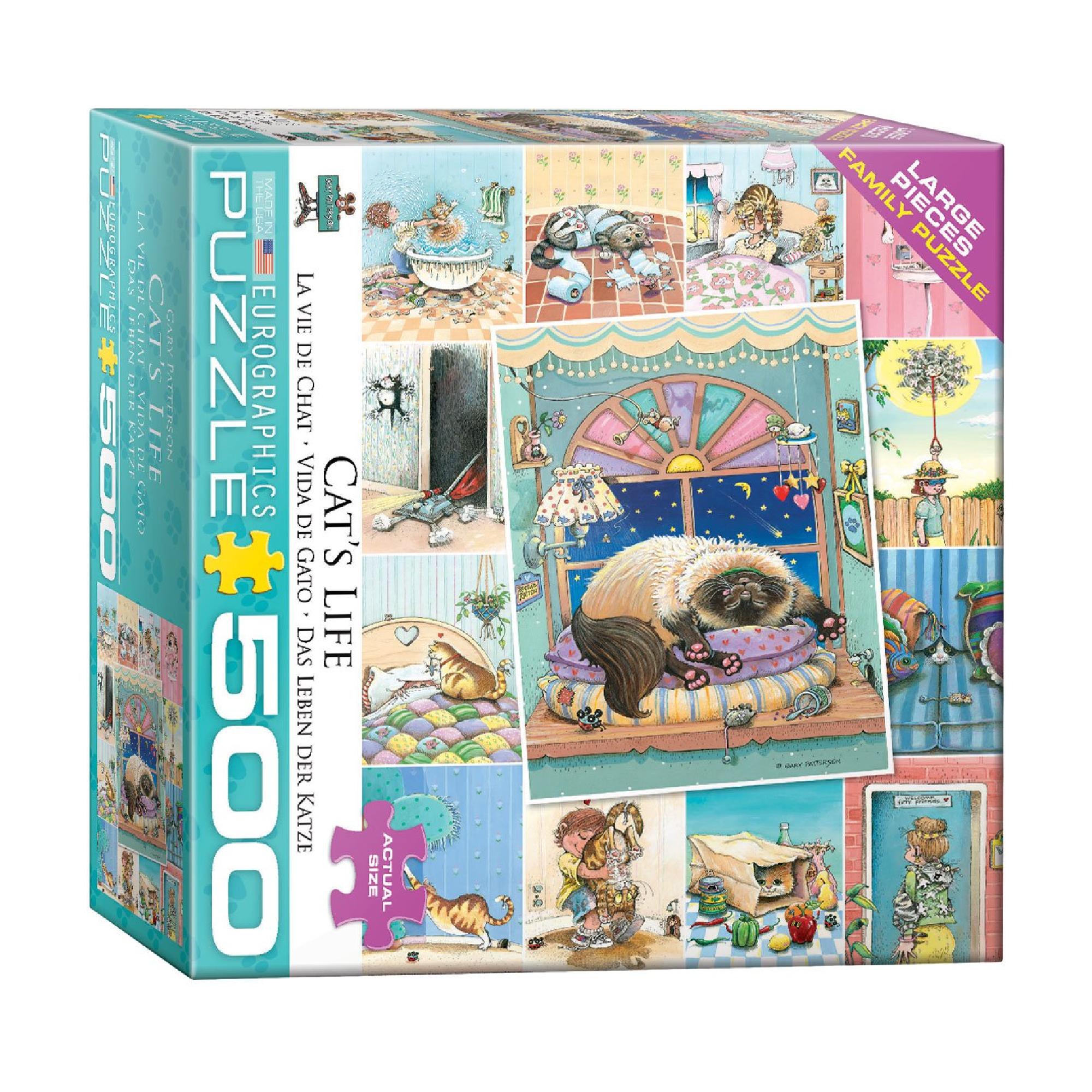 Eurographics Puzzle 500: Cat's Life by Gary Patterson