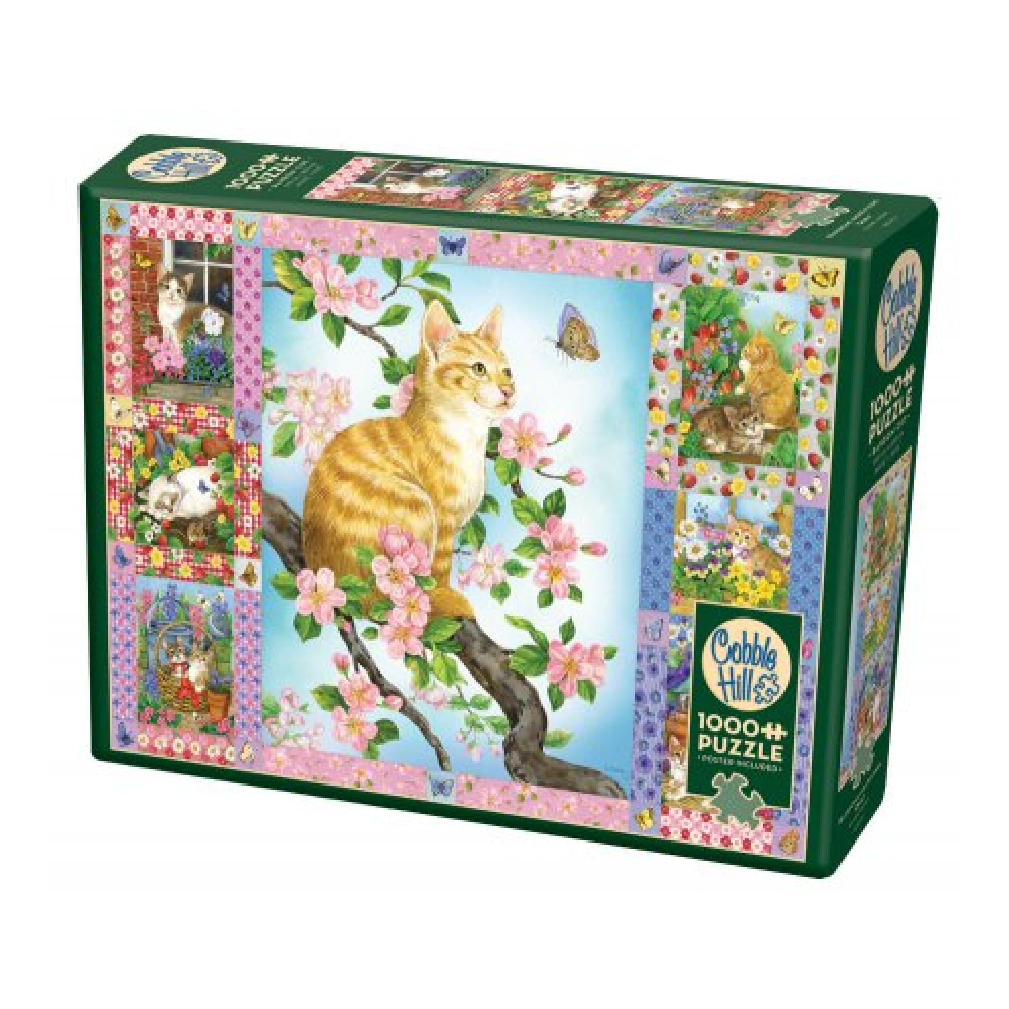 Cobble Hill Puzzle 1000: Blossoms and Kittens Quilt