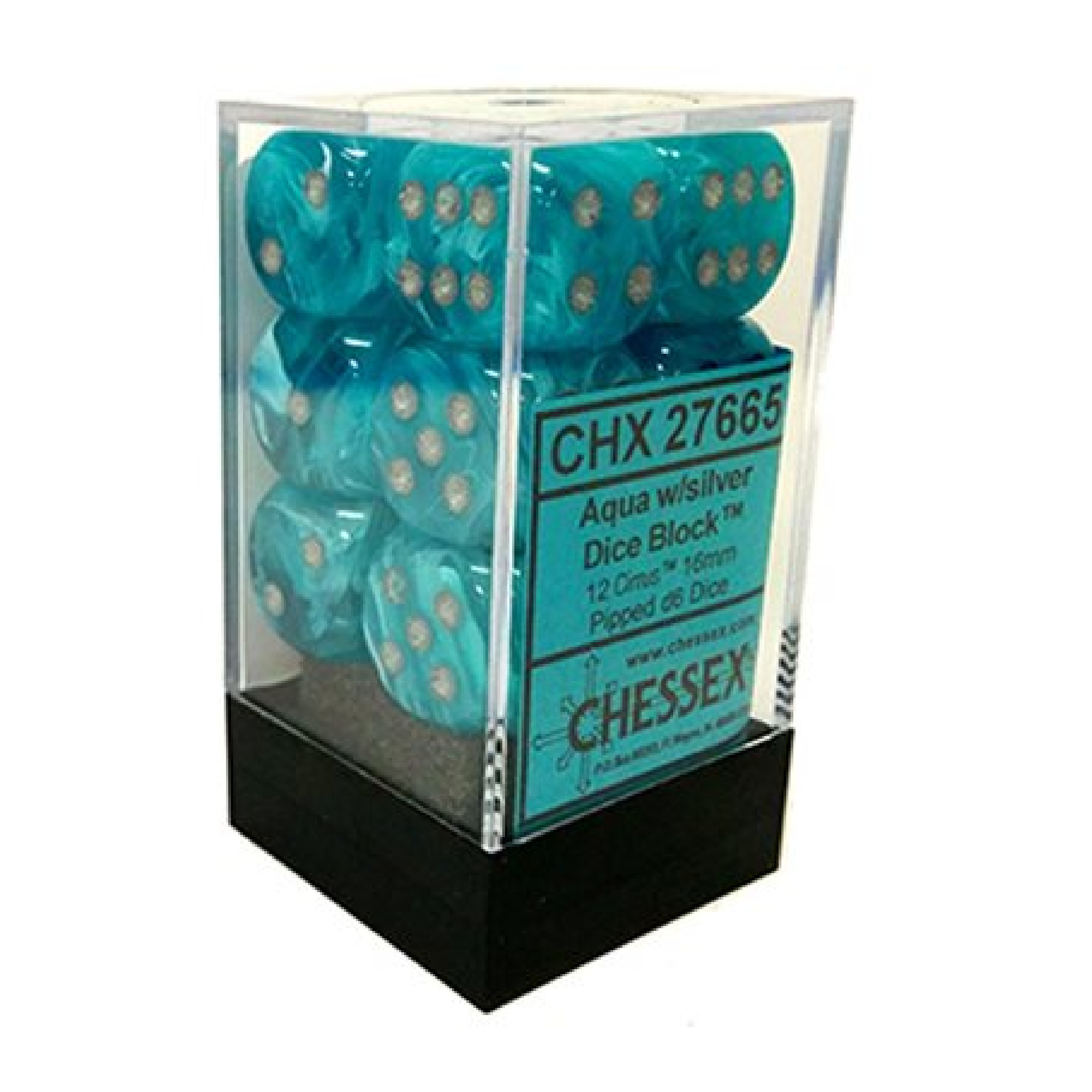 Chessex Cirrus: 12D6 Aqua/Silver