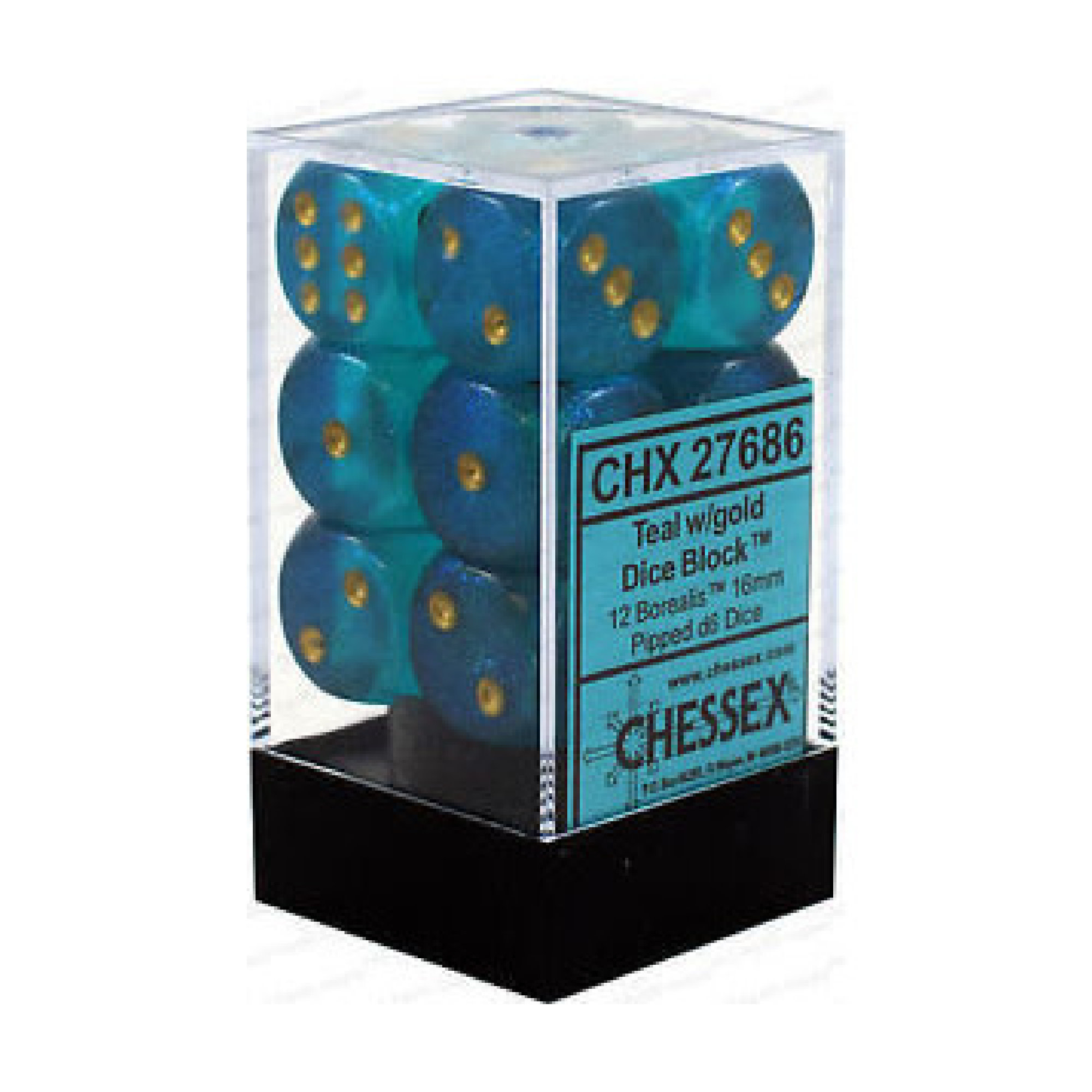 Chessex Borealis: 12D6 Teal/Gold