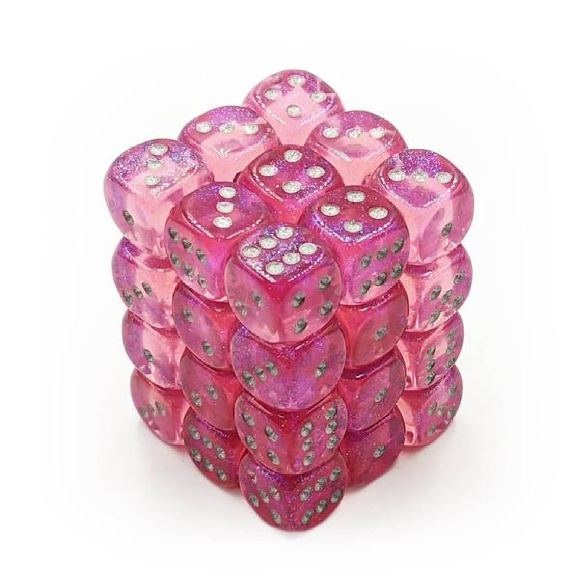 Chessex Borealis: 36D6 Pink/Silver