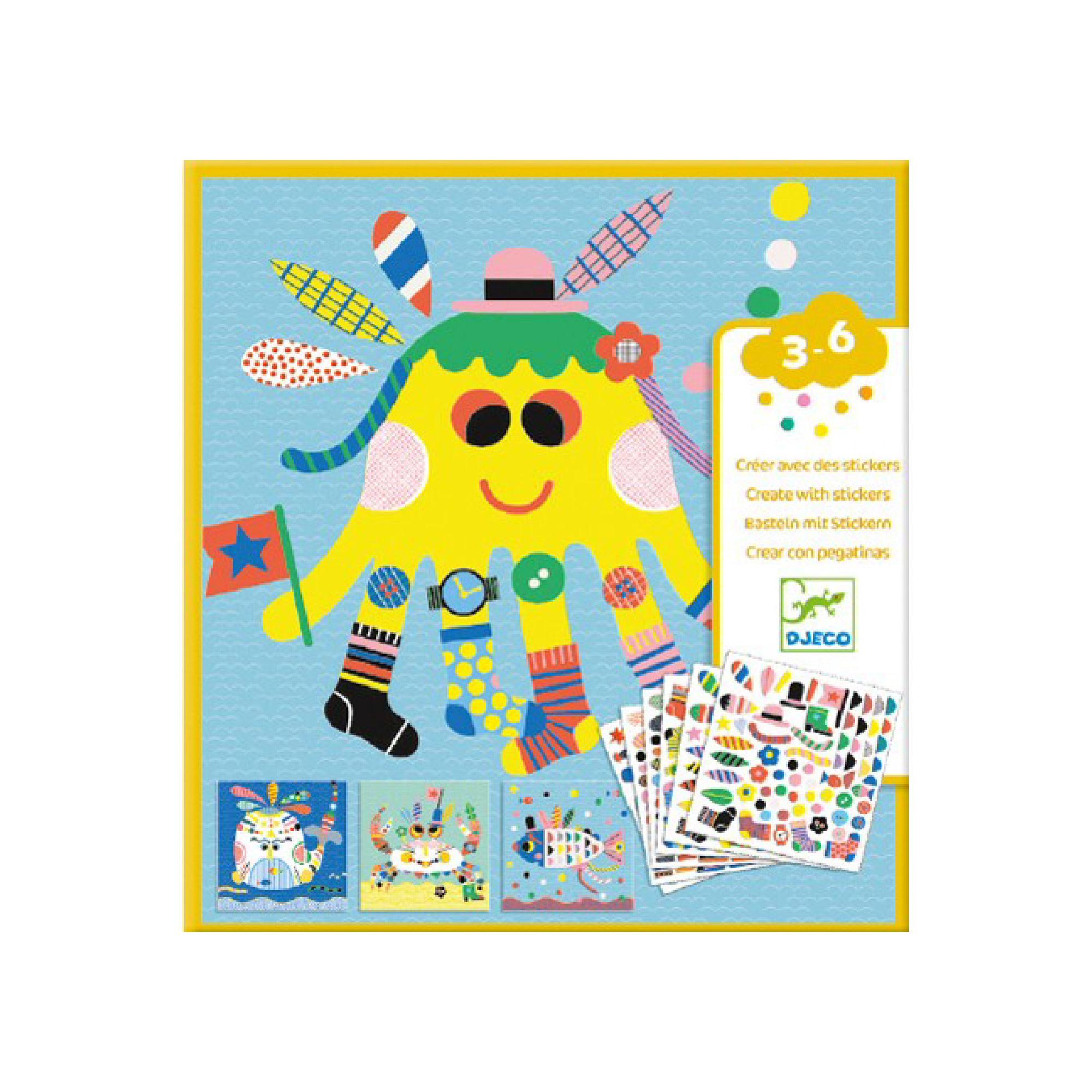 Djeco Créer avec des stickers / Animaux marins