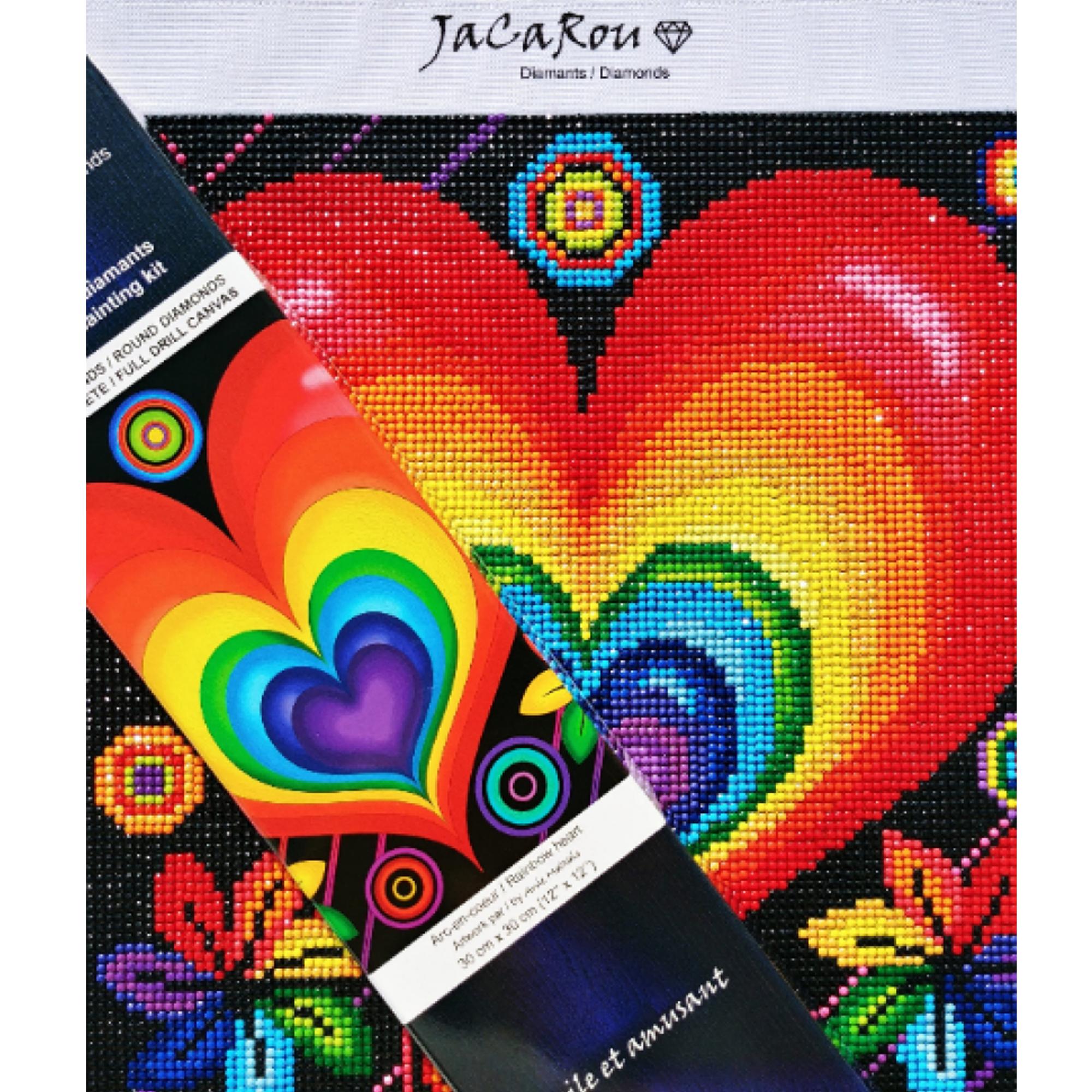 JaCaRou Arc-en-coeur - Diamond painting 30 X 30