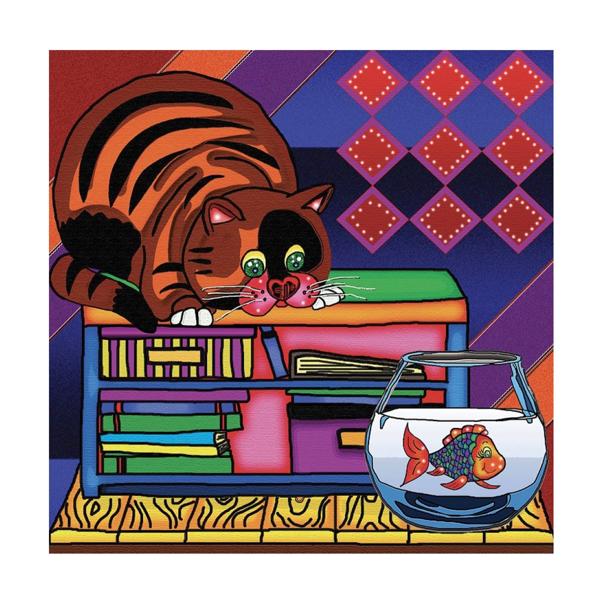 JaCaRou Chat et poisson - Diamond Painting 30 X 30