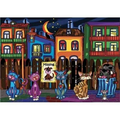 JaCaRou Chats de ruelle - Diamond Painting 50 X 70