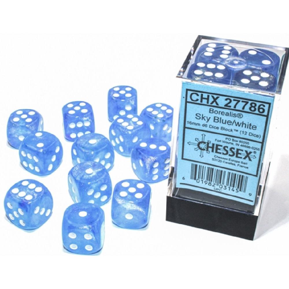 Chessex Borealis: 12D6 Sky Blue/White Luminary