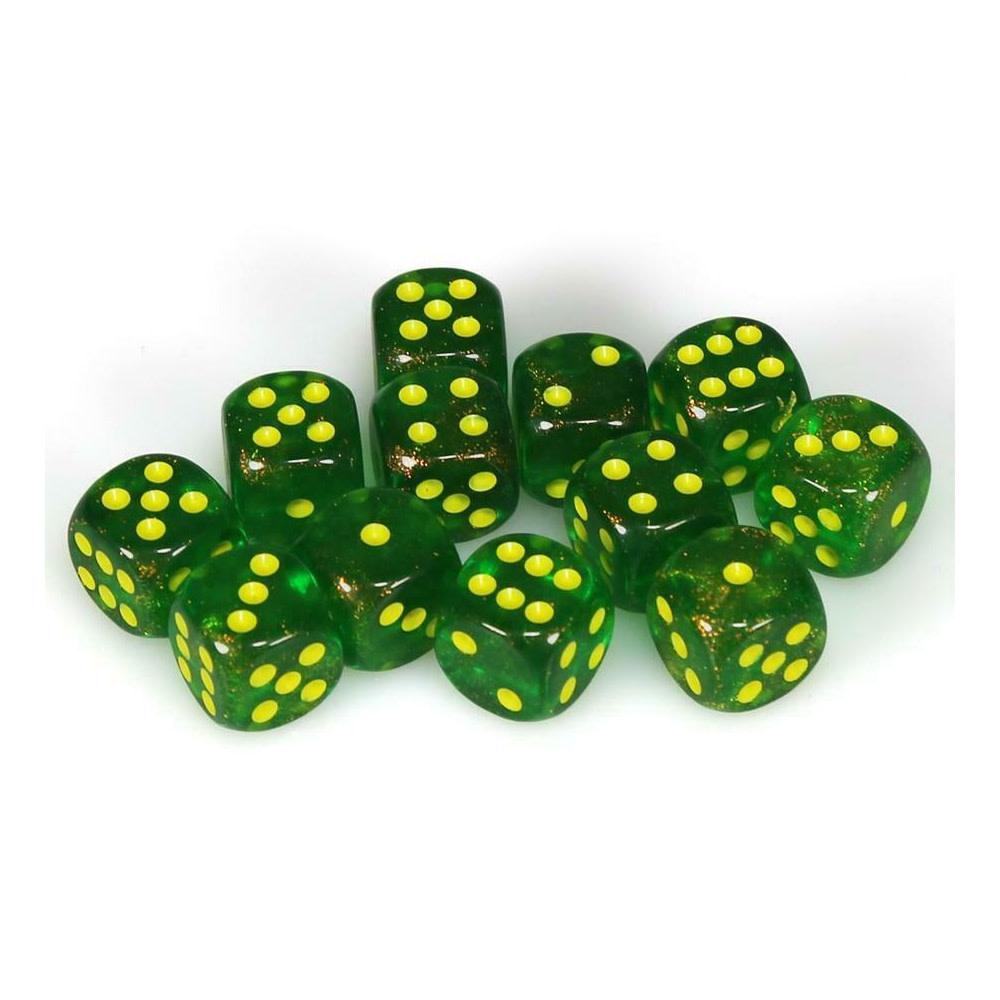 Chessex Borealis: 12D6 Maple Green/Yellow