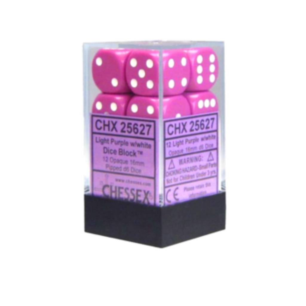 Chessex Dés Opaque: 12D6 Mauve pâle / Blanc