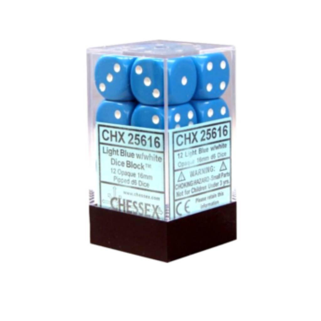 Chessex Dés Opaque: 12D6 Bleu pâle / Blanc
