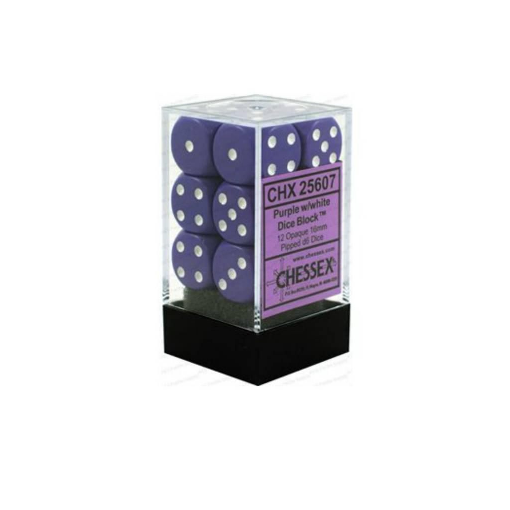 Chessex Dés Opaque: 12D6 Mauve / Blanc