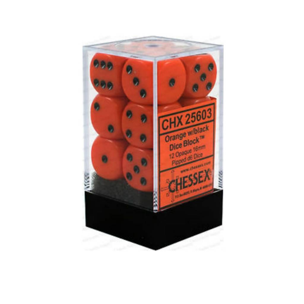 Chessex Dés Opaque: 12D6 Orange / Noir
