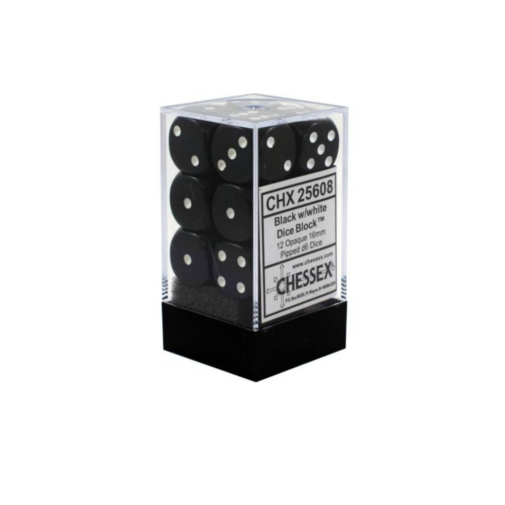 Chessex Dés Opaque: 12D6 Noir / Blanc
