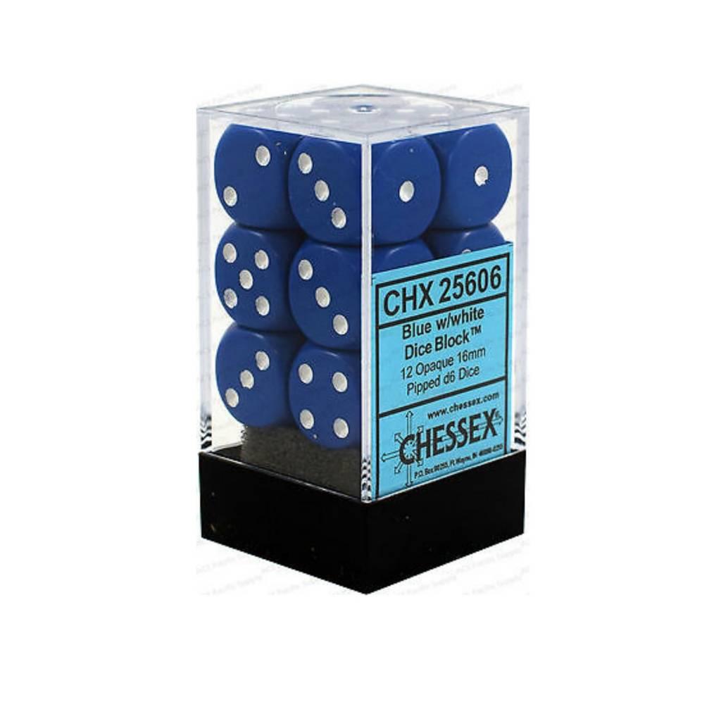 Chessex Dés Opaque: 12D6 Bleu / Blanc