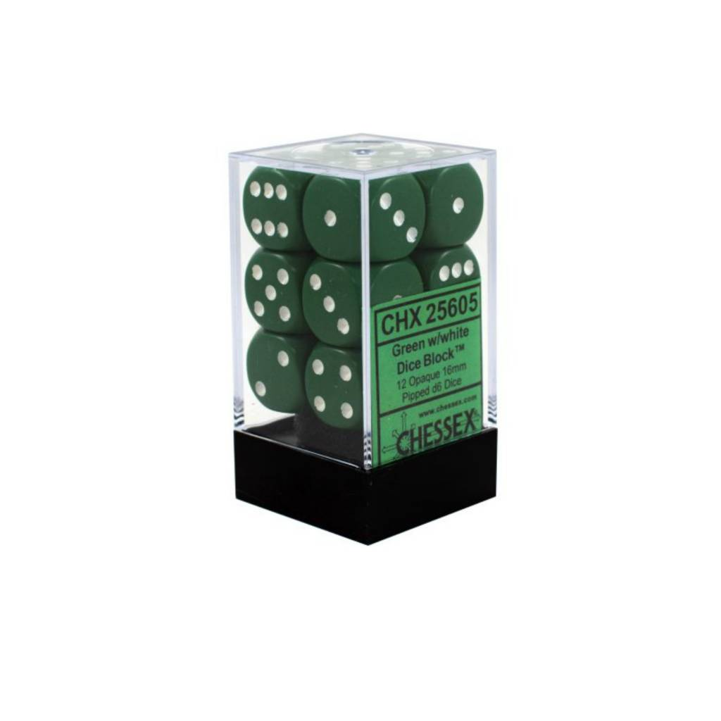 Chessex Dés Opaque: 12D6 Vert / Blanc