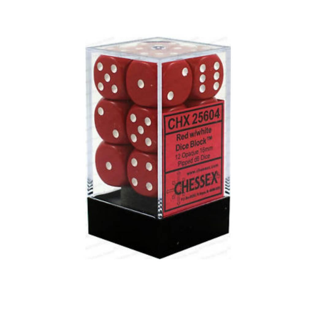 Chessex Dés Opaque: 12D6 Rouge / Blanc