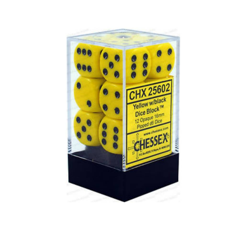 Chessex Dés Opaque: 12D6 Jaune / Noir