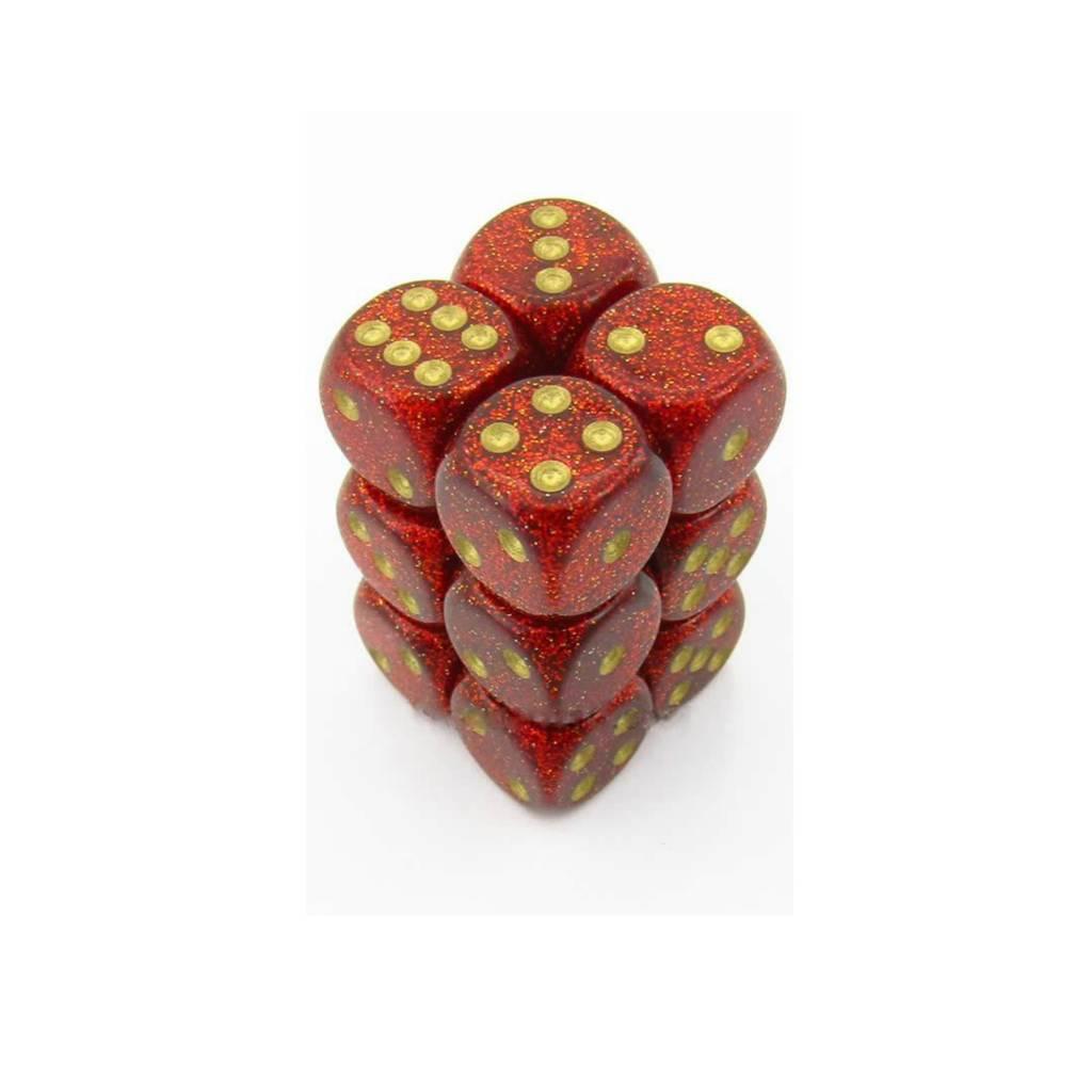 Chessex Chessex 12D6 Paillette Rubis/Or Dice - Dés