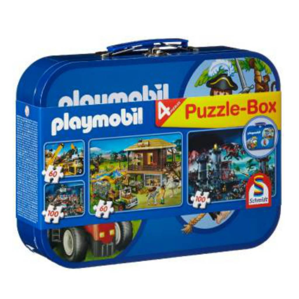 Schmidt Puzzle: 2 X 60 & 2 X 100 Playmobil Tin