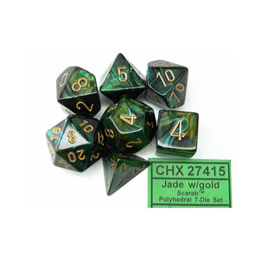 Chessex Chessex 7D Scarab:  Jade/Gold