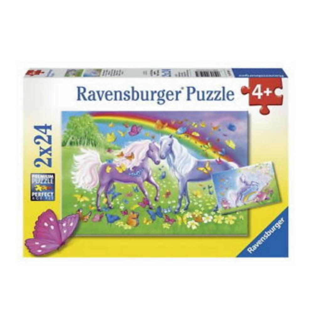 Ravensburger Puzzle 2 x 24: Chevaux et papillons multicolores