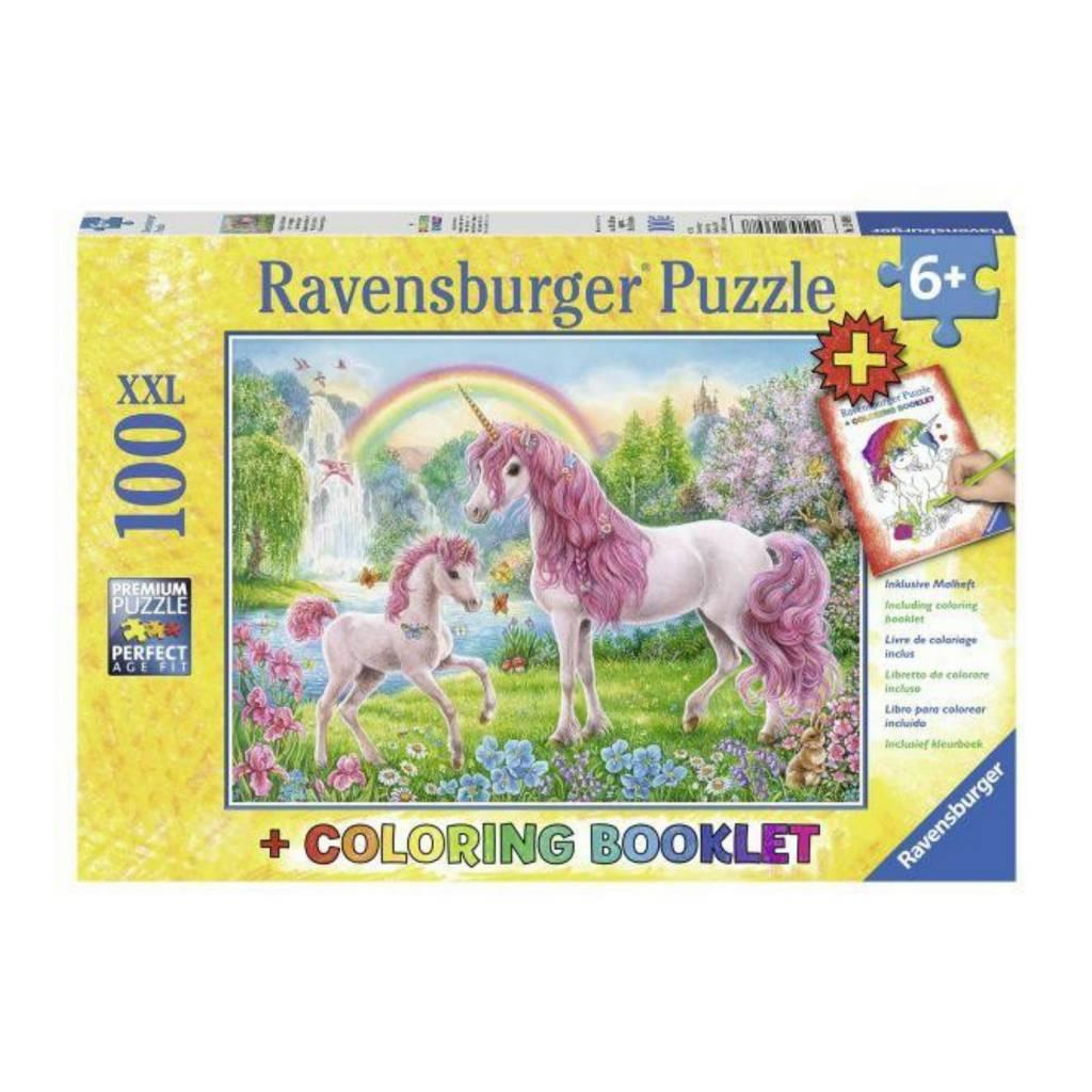 Ravensburger Puzzle 100: Licorne magique (avec livre à colorier)