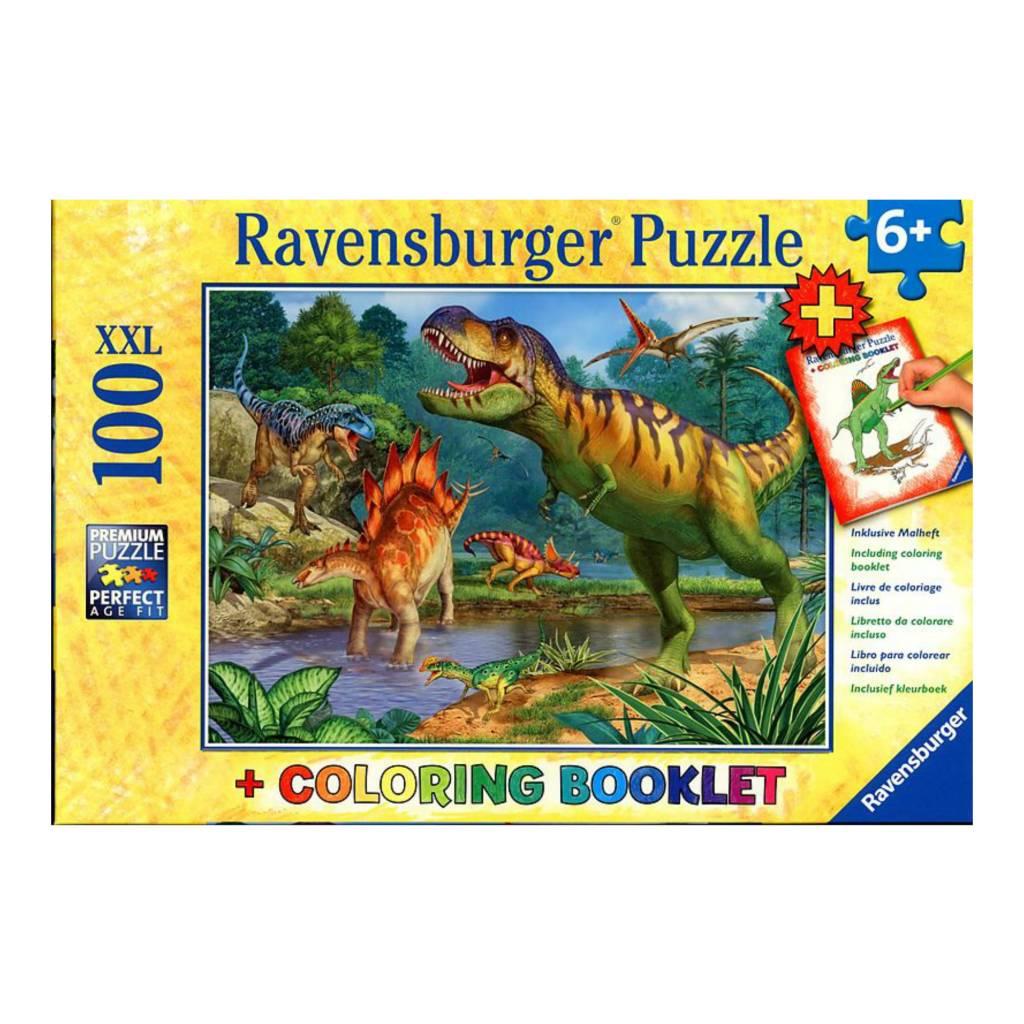 Livre Coloriage Dinosaure.Puzzle 100 Le Monde Des Dinosaures Avec Livre A Colorier L As