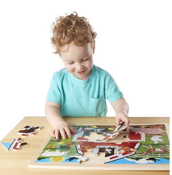 Melissa & Doug Puzzle 24: Barnyard Casse-tête bois
