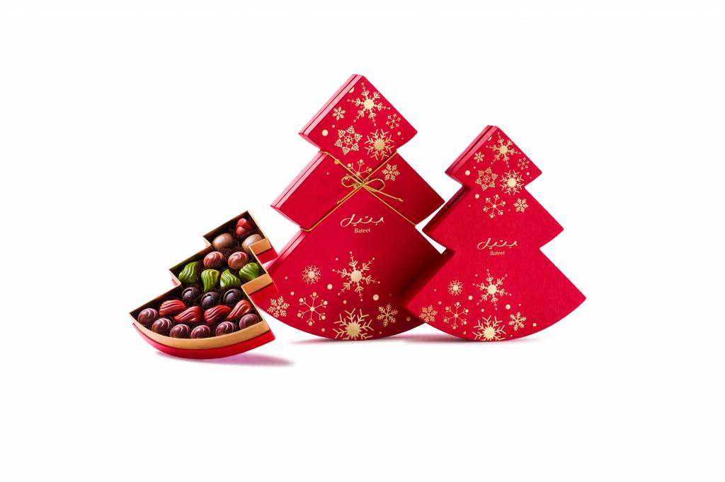 Bateel USA Red Christmas Tree Gift Box