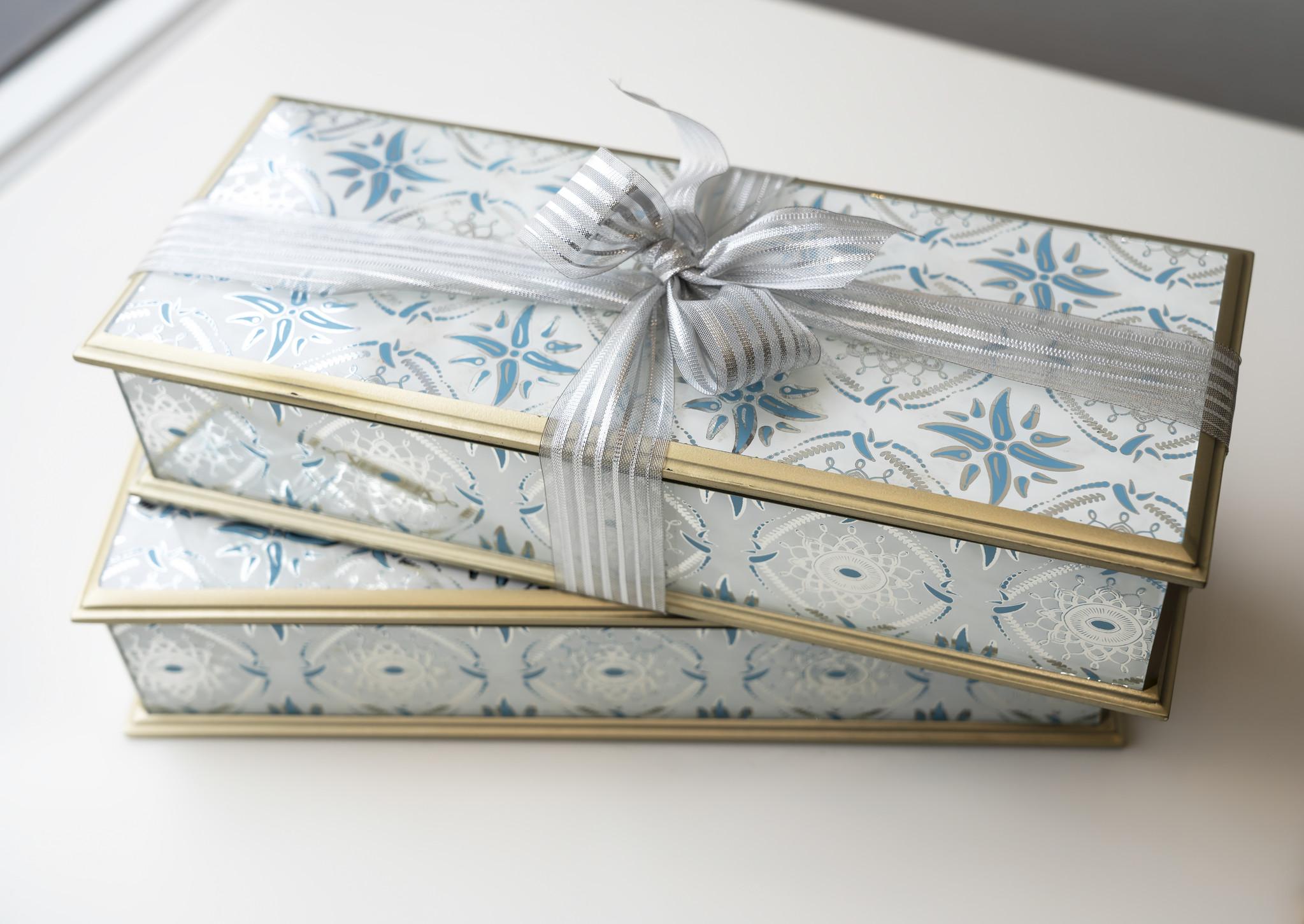 Antique Blue Wood Box