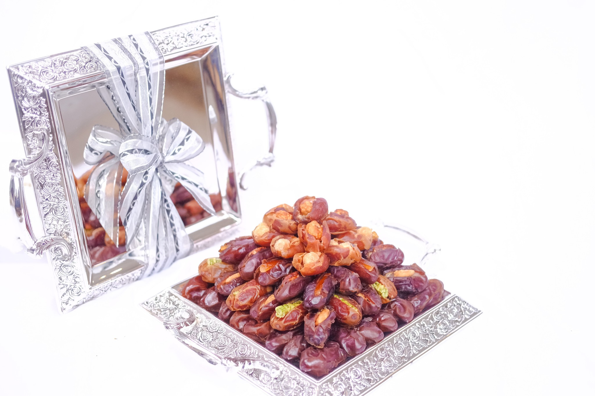 Bateel USA Rose Silver  X-Small Tray Plain/Filled Dates