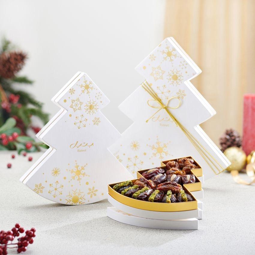 Bateel USA White Christmas Tree Gift Box