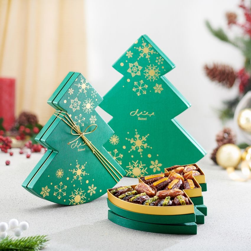 Bateel USA Green Christmas Tree Gift Box
