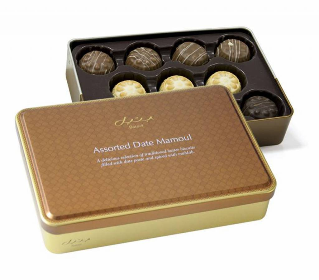 Bateel USA Date Maamoul Cookies Plain and Chocolate Assortment